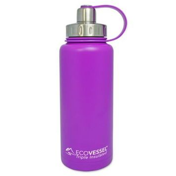 Ecovessel Eco Vessel BOULDER Vacuum Insulated Stainless Steel Water Bottle with Dual Opening Top and Tea, Frui
