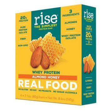 Rise Bar Whey Protein Bar - Almond Honey - 4ct