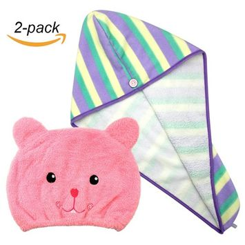 Hair Wrap Towel Microfiber Absorbent Hair Turban Twist Quick Drying Shower Cap for Women and Kids, 2 Pack