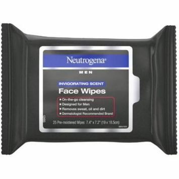 4 Pack - Neutrogena Men Invigorating Scent Face Cleansing Wipes, Pre-Moistened Travel Facial Wipes for On-the-Go Cleans