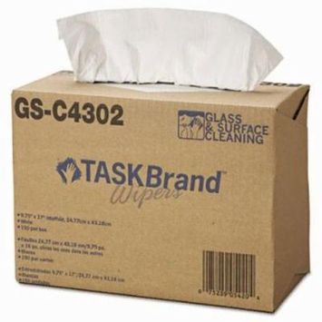 TaskBrand Glass and Surface Wipers, 150 Wipers (HOSNE025IDW)