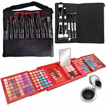 Vokai Makeup Kit Gift Set – 168 Eye Shadow Colors, 6 Lip Glosses - Pop-Up Mirror - Case with Carrying Handle with Bonus Makeup Brushes