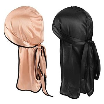 Pretty See Silky Durag Hat Multifunctional Chemo Cap Hair Loss Beanie Soft Turban Hat for Daily Wearing, Set of 2, Golden and Black