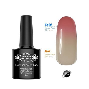 Perfect Summer Mood Temperature Colors Changing Chameleon Gel Nail Polish Gloss Shiny UV Led Soak Off Salon Nails Lacquers New Best #67 dark red/tan