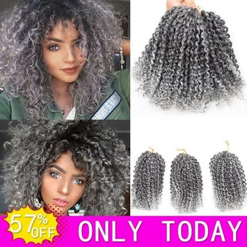 HVAXING 8 inch Short Marlybob Crochet Braiding Hair 3 Bundles/pack Afro Kinky Curly Synthetic Ombre Braids Hair Extensions (Natural Color-Grey)