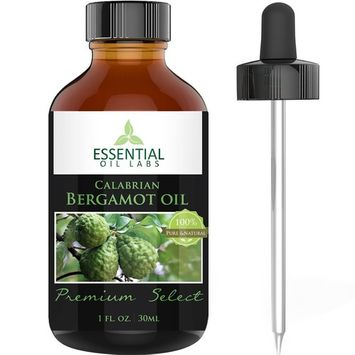 Bergamot Oil - Citrus Bergamia - 100% Pure and Natural - Therapeutic Grade 1 fl ounce with Glass Dropper - Benefits for Mood, Skin and Pain - Premium Select by Essential Oil Labs