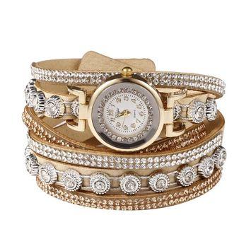 Unbrand - Women Fashion Casual Decor Round Rhinestone Bracelet Watch TOYS2 [name: actual_color value: actual_color-beige]
