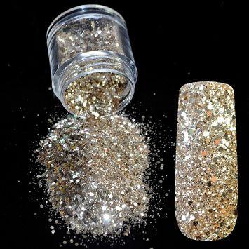 Pure Champagne Mix Makeup Glitter Nail Art Design DIY Glitter Deffierent Size Manicure 3D Powder Pentagon Sequins 265