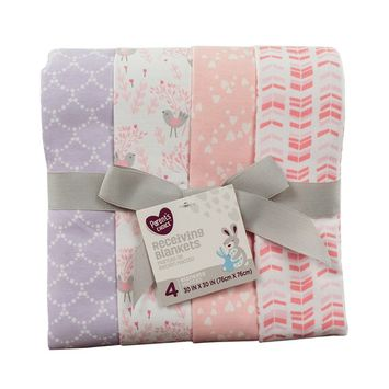 Parent's Choice Receiving Blankets, Songbird, 4 Pack