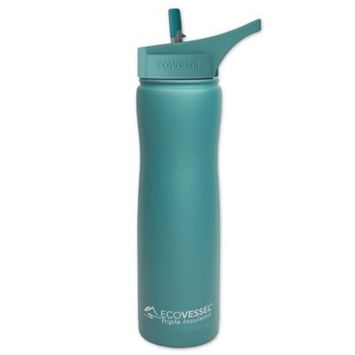 Ecovessel 24oz (700ml) TriMax Triple Insulated Water Bottle with Straw Lid - Teal