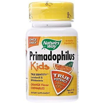 Nature's Way Primadophilus for Kids, Orange, 30 Count (Pack of 3)