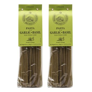 Morelli - Aglio e Basilico - Garlic and Basil Linguine, Imported from Italy, 8.8oz (250g) - Pack of 2