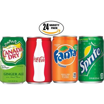 Coca-Cola, Fanta, Sprite - Lemon-Lime, Canada Dry - Ginger Ale - Ultimate Variety Pack!, 7.5 oz Mini Cans (Pack of 18, Total of 135 Fl Oz)