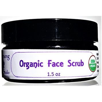 Flowersong Facial Care Organic Face Scrub - Pamper and Smooth Your Face with Chamomile and Hibiscus