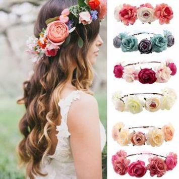 Girl12Queen Girls Ladies Boho Floral Garland Hairband Headband Bride Wedding Hair Wreaths