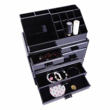 Zimtown Makeup Organizer 7 Drawers Cosmetic Storage 3 Pieces Set Jewelry Display Case