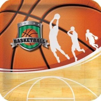 Team Sports Basketball 9-inch Paper Plates 8 Per Pack