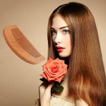 OCDAY Natural Wide Tooth Wood Comb Peach Wood no-static Massage Hair Health Comb