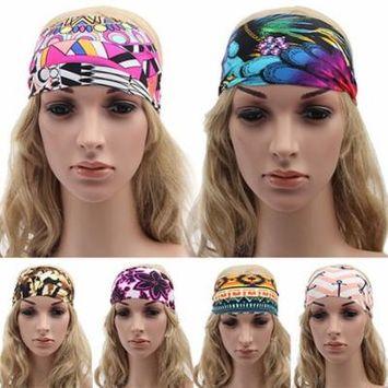 Girl12Queen Women's Boho Wide Floral Yoga Headwrap Nonslip Running Hairband Elastic Headband
