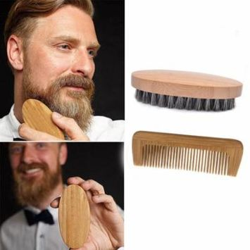 DZT1968 Men Boar Hair Bristle Beard Mustache Brush Military Hard Round Wood And Comb