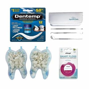Mixed Dental Temporary Crowns Anterior Front & Molar Posterior Bundle with Dentemp Temporary Cement, Dr. Tung's Smart Floss & Impressive Smile Dental Hygiene Tools