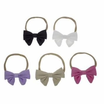 Baby Little Girls 5-pack Bowknot Stretch Soft Headbands Bow Hair Bands - Set of 5 (Comb B)