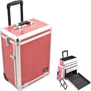 20 inch Hot Fuchsia Pink Crocodile Textured Interchangeable E Series Professional Cosmetics Case 2 Wheel Rolling Train Cart