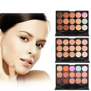 MLM Professional 15 Colour Concealer Camouflage Contour Eye Face Cream Makeup Palette with Cosmetics Oval Make up Brush