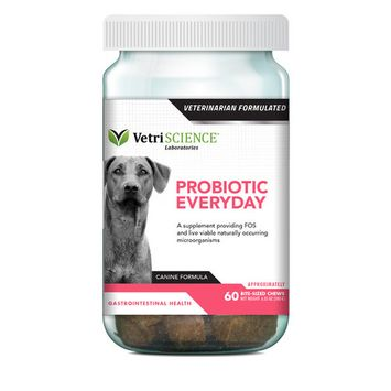 VetriScience Laboratories Probiotic Everyday, Digestive Health Supplement for Dogs, Duck Flavor, 60 Bite-Sized Chews