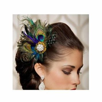 Jelinda women's peacock Bridal headband feather fascinator Headpiece hair accessories (1)