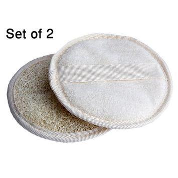 Exfoliating Loofah Glove / Pad - 2 Pack 100% Natural SPA Beauty - Egyptian Organic Bath Sponge Body Scrubber - Premium Quality Lofa Loofa Luffa Loffa for exfoliating your skin.