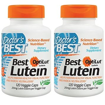 Doctor's Best, (2 Pack) Lutein with OptiLut, 10 mg, 120 Veggie Caps