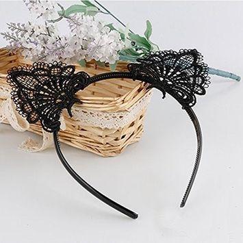 AKOAK Sexy Lovely Women Fashion Lace Cat Ears Headband Hair Accessories, Black