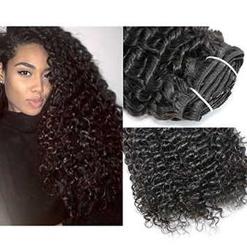 Loviness 7 Pieces 120g 22'' Clip in Natural Black Afro Curl Hair Extension Good Quality for Africa Women Full Head Remy Human Hair Extension