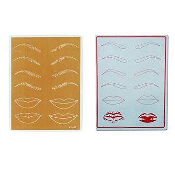 DZT1968 2PC Permanent Cosmetic Eyebrow Lip Makeup Practice Training Skin Sheet Tattoo