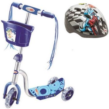 Mp3 World Corp Vertigo 3-Wheel Scooter Glider with Basket and Light Up Wheels, Ages 3+, Assorted Colors