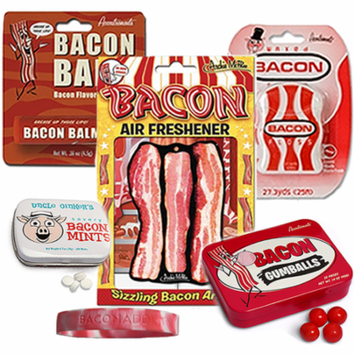 Bacon Addicts Survival Kit Gift Pack (5pc Set + Wristband) - Bacon Dental Floss, Lip Balm, Mints, Gumballs & Air Freshener + Silicone Wristband