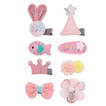 Girls Hair Bow Clips Snap Clip Barrettes For Baby Girl, 8pcs