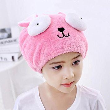 G2PLUS Hair Drying Towel for Kids, Microfiber Absorbent Cartoon Hair Towel Wrap for Children Shower Bath (Pink)