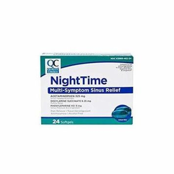 5 Pack Quality Choice NightTime Multi-Symptom Sinus Relief 24 Softgels Each
