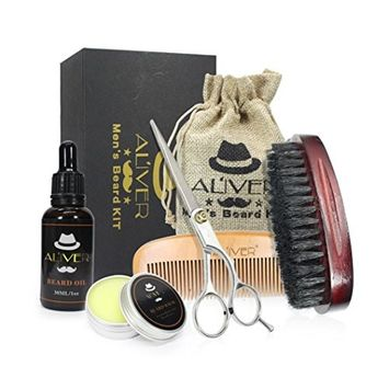 Lotus.flower Men's Beard Fluid+Beard Wax+Comb+Brush+Scissors Strength Nourish Combination