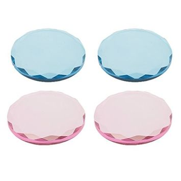Dovewill 4pcs Cosmetic Crystal Glass Eye Lashes Adhesive Glue Pallet Holder For Eyelash Extension Makeup Set Pink Blue