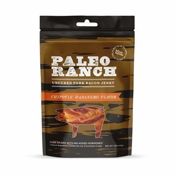 PALEO RANCH Uncured Bacon Jerky, All Natural, No Added Hormones, No Preservatives, 1.5 Ounce (Chipotle Habenero, 8 Pouches)
