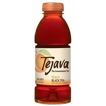 Tejava Unsweetened Peach Iced Tea, 16.9 oz PET Bottles, Award Winning, Non-GMO-Verified, from Rainforest Alliance-Certified farms (12 Pack)