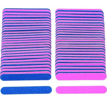 Sumind 100 Pack Disposable Nail Files Double Sided Emery Boards Manicure Tools, Blue and Pink