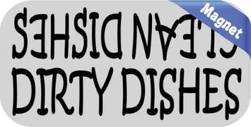 Stickertalk 4inx2in Clean Dishes Dirty Dishes Magnet Vinyl Magnetic Decal Kitchen Sign
