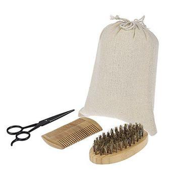 Anself 3Pcs Men's Beard Brush Scissor Kit Boar Bristle Shaving Brush + Verawood Beard Comb + Stainless Steel Scissor