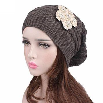 Lanhui_Elegant Women Ladies Knitting Cancer Hat Beanie Turban Head Wrap Cap Pile Cap