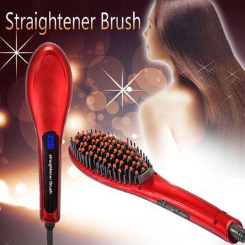 Coastacloud Red Anti-Scald Straightening Brush Digital LCD Electric Hair Straightener Comb Security Certificate,Straighting Brush Hair Styling , Massage Straightening Irons