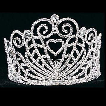 Girl Silver Heart Swirls Pageant Quinceanera Communion Tiara Headpiece